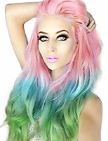 cheap -women colored rainbow heat resistant wig unicorn long curly wavy synthetic hair ombre cosplay wigs for party,multicolor