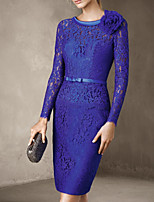 cheap -Sheath / Column Elegant Floral Wedding Guest Cocktail Party Dress Jewel Neck Long Sleeve Knee Length Lace with Sash / Ribbon 2020