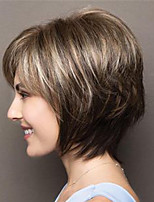cheap -Synthetic Wig Straight Pixie Cut Asymmetrical Wig Short Light Brown Dark Brown Synthetic Hair Women's Fashionable Design Color Gradient Exquisite Dark Brown Light Brown