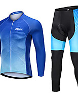 cheap -21Grams Men's Long Sleeve Cycling Jersey with Tights Winter Fleece Blue Gradient Bike Fleece Lining Breathable Sports Gradient Mountain Bike MTB Road Bike Cycling Clothing Apparel / Stretchy