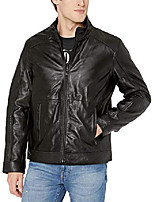 cheap -men's moto leather jacket, black, medium