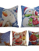 cheap -Set of 5 Linen Pillow Cover Special Design Cartoon Traditional Christmas Throw Christmas Santa Claus Snowman Snow Pillow 45*45cm