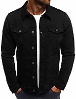cheap -slim denim jackets men casual windbreaker streetwear hip hop solid jeans coat cotton pockets chaqueta hombre,black,m