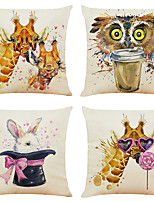 cheap -Set of 4 Funny Animals Linen Square Decorative Throw Pillow Cases Sofa Cushion Covers 18x18