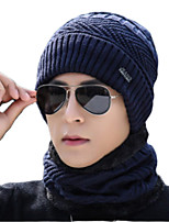 cheap -Men's Hiking Cap Beanie Hat 1 set Winter Outdoor Windproof Warm Soft Thick Neck Gaiter Neck Tube Skull Cap Beanie Solid Color Woolen Cloth Black Blue Grey for Fishing Climbing Running