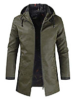 cheap -men's casual zip up mid-long camouflage faux leather jacket hooded coat (small, army green)