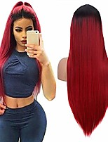 cheap -ombre wine red wig women silky long straight wig fashion burgundy synthetic wig for cosplay party halloween costume 22 inches natural hairline middle part(with a free wig cap)