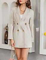 cheap -Women's Shift Dress Short Mini Dress - Long Sleeve Solid Color Patchwork Button Fall Formal Work 2020 Beige S M L