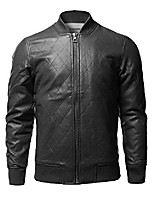 cheap -casual faux leather long sleeves bomber jacket black size m