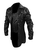 cheap -men's real black leather goth matrix trench coat steampunk gothic coats leather jacket (m, pu leather)