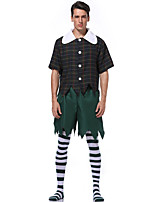 cheap -Cosplay Cosplay Costume Masquerade Adults' Men's Halloween Party Halloween Halloween Carnival Masquerade Festival / Holiday Polyester Red / Green Men's Easy Carnival Costumes Plaid Checkered / Top