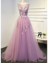 cheap -A-Line Floral Empire Engagement Formal Evening Dress Illusion Neck Sleeveless Floor Length Lace Tulle with Pleats Appliques 2020