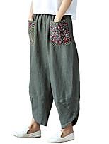 cheap -women's baggy linen wide leg trousers casual patchwork elastic waist harem pants army green 2xl