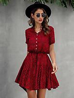 cheap -Women's Swing Dress Short Mini Dress - Short Sleeve Print Summer Casual Cotton 2020 Black Blue Red Wine Khaki Light Blue S M L XL XXL