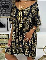 cheap -Women's Swing Dress Knee Length Dress - Short Sleeve Print Print Summer V Neck Casual Loose 2020 Blue Purple Yellow Orange Light Blue S M L XL XXL 3XL 4XL 5XL