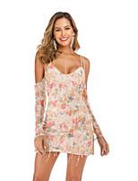 cheap -Women's Strap Dress Short Mini Dress - Long Sleeve Floral Sequins Tassel Fringe Summer Sexy Party Slim 2020 Blushing Pink S M L XL