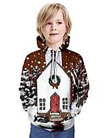 cheap -Kids Boys' Active 3D Christmas Print Long Sleeve Hoodie & Sweatshirt Brown
