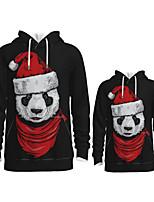 cheap -Daddy and Me Active Santa Claus Graphic 3D Print Animal Print Long Sleeve Regular Hoodie & Sweatshirt Black