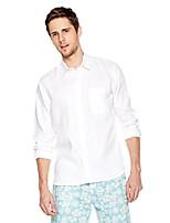 cheap -men's slim-fit 100% linen long-sleeve woven casual shirt small white