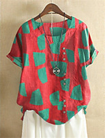 cheap -Women's Shirt Color Block Print Round Neck Tops Cotton Basic Basic Top Red Yellow Green