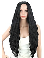 cheap -Synthetic Wig Water Wave Middle Part Wig Long Black Synthetic Hair Women's Party Fashion Middle Part Black
