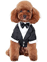 cheap -dog shirt puppy pet small dog clothes, stylish suit bow tie costume, wedding shirt formal tuxedo with black tie, dog prince wedding bow tie suit