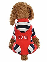 cheap -pet clothes sweater, dog striped print jumpsuit warm dog pajamas apparel dogs coats (xs, red)