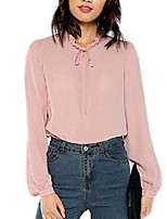 cheap -womens solid elegant bow tie neck long sleeve work office blouse top pink