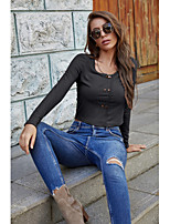 cheap -Women's T-shirt Solid Colored Long Sleeve Round Neck Tops Basic Basic Top Dark Gray / Crop