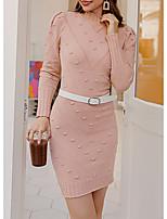 cheap -Women's Sheath Dress Short Mini Dress - Long Sleeve Solid Color Fall Winter Casual Slim 2020 Blushing Pink S M L