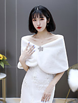 cheap -Sleeveless Shrugs / Scarves Fauxfur Wedding / Party / Evening Shawl & Wrap / Women's Wrap / Women's Scarves With Crystals / Rhinestones