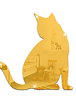 cheap -Animal Cat Wall Stickers Mirror Wall Stickers Decorative Wall Stickers, Acrylic Home Decoration Wall Decal Wall Decoration 1pc