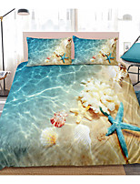 cheap -3D Digital Print Ocean Duvet Cover Set Blue Beach Bedding Coastal Nature Theme Pattern Boys Girls Bedding Sets Queen Include 1 Duvet Cover and 1 or 2 Pillowcases