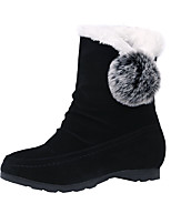 cheap -Women's Boots Snow Boots Flat Heel Round Toe Mid Calf Boots Casual Daily Nubuck Pom-pom Solid Colored Black Burgundy Gray / Booties / Ankle Boots / Booties / Ankle Boots
