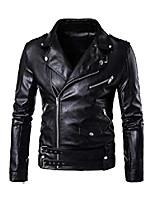 cheap -men's pu leather jacket causal belted faux leather motorcycle jacket zipper biker coat black s