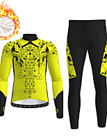 cheap -21Grams Men's Long Sleeve Cycling Jersey with Tights Winter Fleece Black / Yellow Red Blue Bike Fleece Lining Breathable Warm Sports Graphic Mountain Bike MTB Road Bike Cycling Clothing Apparel