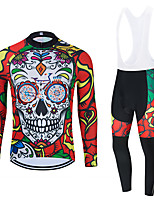 cheap -WECYCLE Men's Women's Long Sleeve Cycling Jersey with Bib Tights Cycling Jersey with Tights Winter Polyester Black Red Black / White Skull Floral Botanical Bike Clothing Suit Breathable 3D Pad Quick