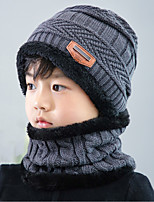 cheap -Boys' Girls' Hiking Cap Beanie Hat 1 PCS Winter Outdoor Breathable Warm Soft Heat Retaining Skull Cap Beanie Solid Color Woolen Cloth Black Burgundy Grey for Hunting Ski / Snowboard Fishing