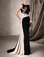 cheap -Mermaid / Trumpet Beautiful Back Sexy Engagement Formal Evening Dress Halter Neck Sleeveless Court Train Spandex with Pleats Beading 2020