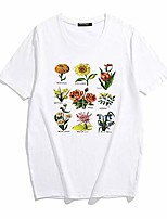 cheap -women's casual flowers printed t shirt funny vintage botanical graphic tees cute plants tops for teen girls black …