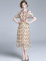 cheap -Women's Sheath Dress Midi Dress - Short Sleeve Floral Lace Fall Casual Elegant 2020 Beige S M L XL XXL