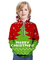 cheap -Kids Boys' Active 3D Letter Christmas Print Long Sleeve Hoodie & Sweatshirt Red