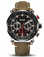 cheap -wrist watches for men fashion leather strap analogue military sports quartz men watch with chronograph and calendar display