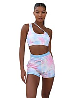 cheap -Women's Basic Tie Dye Two Piece Set One Shoulder Tank Pant Backless Drawstring Tops / Skinny