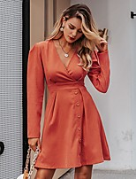 cheap -Women's A-Line Dress Short Mini Dress - Long Sleeve Solid Color Lace up Patchwork Fall Winter V Neck Work Elegant 2020 Orange S M L