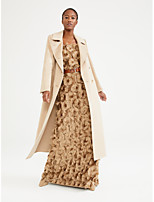 cheap -Women's Fall & Winter Double Breasted Coat Long Solid Colored Daily Basic Beige S M L XL