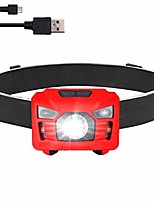 cheap -usb headlamp flashlight,led rechargeale waterproof headlamp,500 lumen headlamp with red light,motion sensor,5 lighting modes high power head lamp,adjustable headband light for fishing,running,hunting