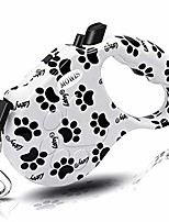 cheap -retactable dog leash with anti-slip handle, 16 ft strong nylon tape/ribbon, one-handed brake, pause, lock (blac & white)