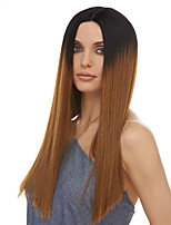 cheap -Synthetic Wig kinky Straight Asymmetrical Lace Front Wig Long Brown Synthetic Hair Women's Fashionable Design Exquisite Comfy Brown