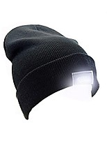 cheap -ultra bright unisex 5 led knitted flashlight beanie hat/cap for hunting, camping, grilling, auto repair, jogging, walking, or handyman working - one size fits most, black